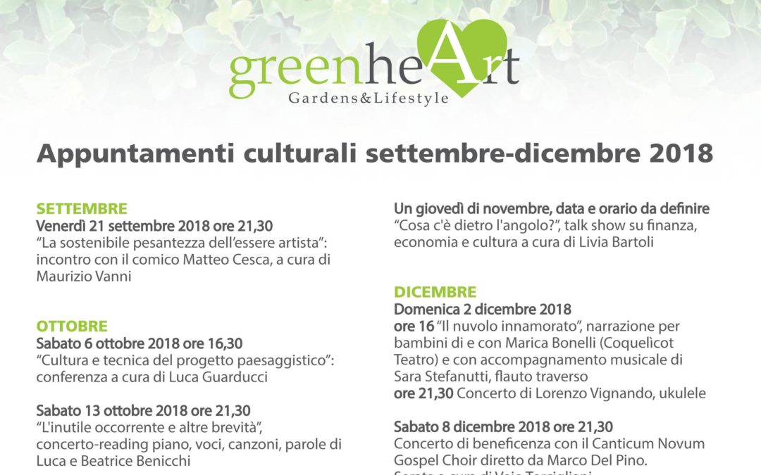 Il calendario degli appuntamenti culturali: settembre-dicembre 2018